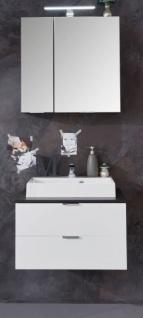 Badmöbel Set Concept1 Hochglanz weiß und Graphit grau 3-teilig komplett mit Waschbecken 60 x 192 cm - Vorschau 2