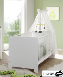 Babyzimmer Babybett Olivia mit Schlupfsprossen und Lattenrost weiß