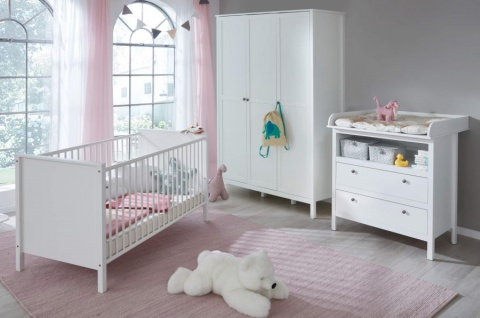Babyzimmer Ole komplett Set 3-teilig weiß mit Wickelkommode Babybett und XXL Kleiderschrank
