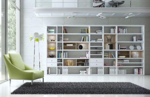 Wohnwand Bücherwand Dekor Lack weiß Hochglanz Eiche Natur LED-Beleuchtung Breite 420 cm