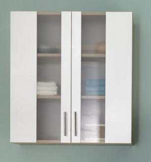 Badezimmer Hängeschrank Porto in weiß und Eiche sägerau hell Badmöbel mit Glas satiniert 65 x 70 cm Badschrank