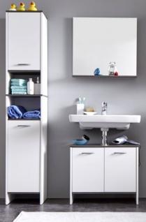Badmöbel Set California 3-teilig in weiß und Sardegna grau Rauchsilber 112 x 180 cm Badkombination - Vorschau 3