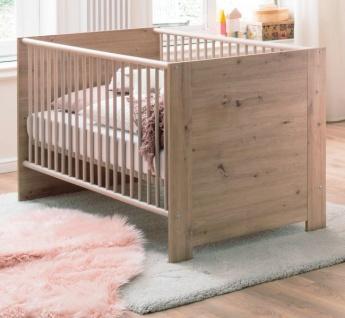 Babyzimmer Babybett Ahoi in Artisan Eiche Gitterbett mit Schlupfsprossen und Lattenrost 70 x 140 cm Liegefläche