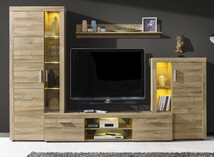 wohnwand creek in eiche alteiche dekor inkl led beleuchtung kaufen bei oe online einrichten. Black Bedroom Furniture Sets. Home Design Ideas