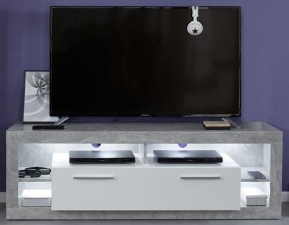 TV-Lowboard Rock in weiß Hochglanz und Stone grau TV-Unterteil 150 x 48 cm