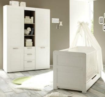 Babyzimmer Babybett und Kleiderschrank Landi Anderson Pinie weiß 2 teilig