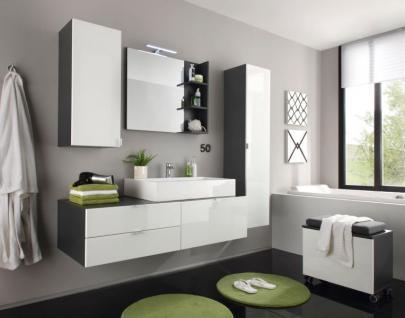 badezimmer h ngeschrank beach mit spiegel innenseitig hochglanz wei grau 35 x 83 cm kaufen. Black Bedroom Furniture Sets. Home Design Ideas