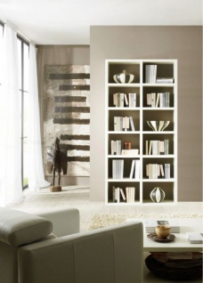 Bücherwand Bücherregal Raumteiler Dekor Lack weiß Hochglanz