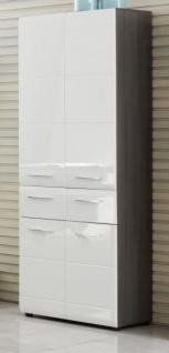 Badezimmer Hochschrank Line in Hochglanz weiß und Sardegna grau Rauchsilber 60 x 182 cm