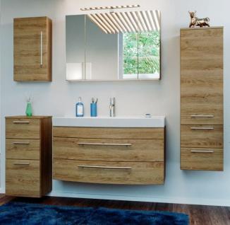Badmöbel Set Rima in Sonoma Eiche Badkombination 7-tlg. inkl. Waschbecken und Spiegellampe 210 x 190 cm