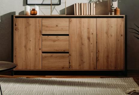 """Sideboard """" Denver"""" in Artisan Eiche und Anthrazit Kommode im Industrial Look 160 x 88 cm"""