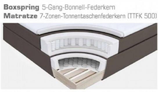 Boxspringbett Amondo 160 x 200 cm Leder Optik braun 7 Zonen Tonnentaschenfederkern Matratze - Vorschau 5
