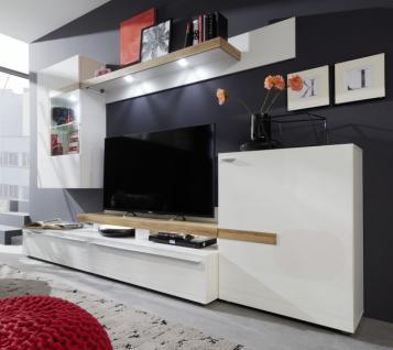 Wohnwand in Hochglanz weiß und Alteiche Schrankwand inkl. LED Beleuchtung 280 cm Olymp