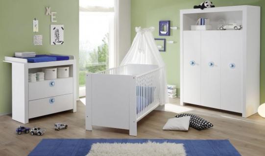 Babyzimmer Olivia in weiß und blau komplett Set 2-teilig mit Wickelkommode und Babybett - Vorschau 2