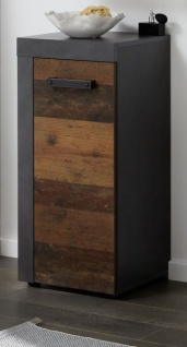 Badezimmer Unterschrank Cancun in Old Used Wood Design mit Matera grau Badmöbel 36 x 81 cm Badschrank Kommode
