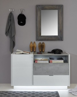 Garderobe Garderobenschrank Atlanta In Hochglanz Weiss Und Stone Grau