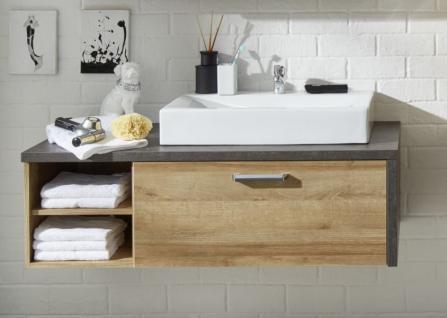 Waschbeckenunterschrank Bay Eiche Riviera Honig und grau Beton Design mit Schubkasten 123 cm