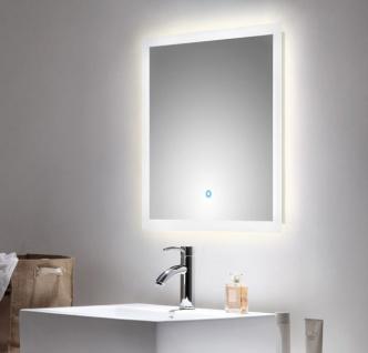 Badspiegel Homeline inkl. LED Beleuchtung mit Touch Bedienung Badezimmer Spiegel weiß 60 x 60 cm