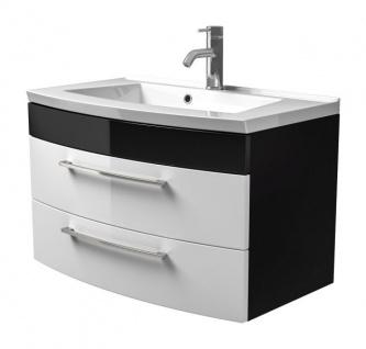 Waschbeckenunterschrank Rima in anthrazit und weiß Hochglanz Waschplatz hängend inkl. Waschbecken Set 2-tlg. 82 x 54 cm