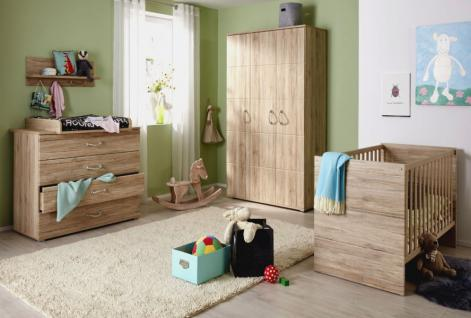 Babyzimmer komplett Set in Eiche San Remo mit Sisal-Griffen 3-teilig Skagen