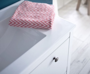 Badmöbel Set Ole weiß Landhaus 4-teilig komplett mit Keramik-Waschbecken - Vorschau 3