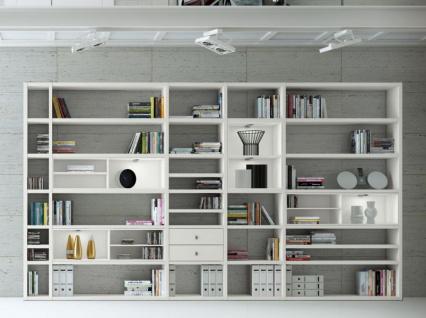Wohnwand Bücherwand MDor Dekor Lack weiß matt LED-Beleuchtung Breite 385 cm