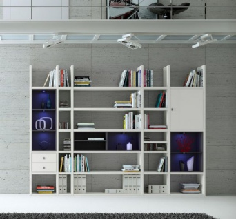 Wohnwand Bücherwand MDor Dekor Lack weiß matt schwarz LED-Beleuchtung Breite 298 cm