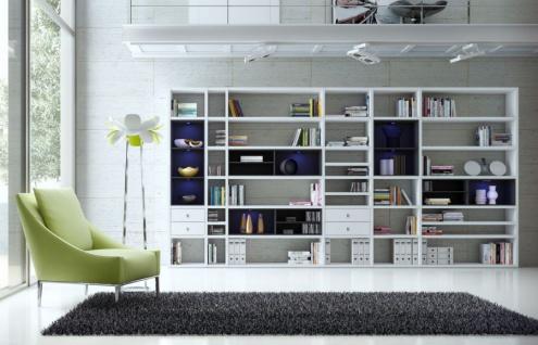 Wohnwand Bücherwand MDor Dekor Lack weiß Hochglanz schwarz LED-Beleuchtung Breite 420 cm