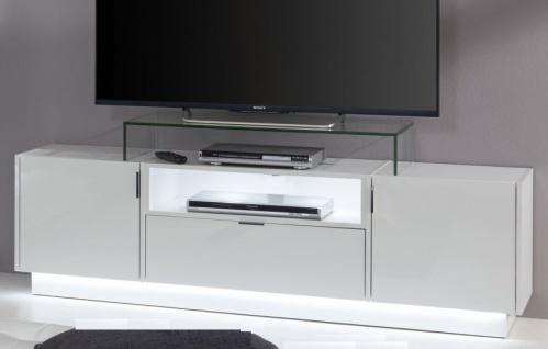 TV-Unterteil Lowboard Atlanta Hochglanz weiß und 160 x 48 cm