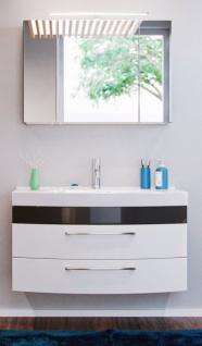 Badmöbel Set Rima in anthrazit und weiß Hochglanz Badkombination 4-tlg. inkl. Waschbecken und Spiegellampe 100 x 190 cm