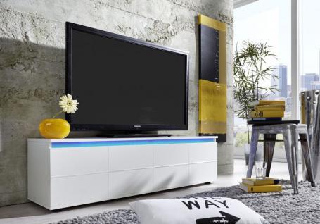 Lowboard TV Board Rocket weiß glänzend mit RGB LED Beleuchtung 140 x 38 cm