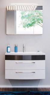 Badmöbel Set Rima in anthrazit und weiß Hochglanz Badkombination 4-tlg. inkl. Waschbecken und Spiegellampe 82 x 190 cm