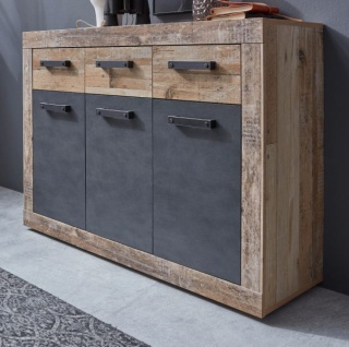 "Kommode "" Tailor"" in Matera grau und Shabby Used Wood hell Sideboard 117 x 86 cm Pale Wood"