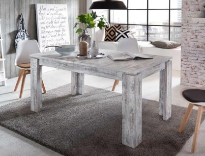 Esstisch River Canyon Pinie weiß Shabby Vintage Holztisch ausziehbar 160 - 200 cm