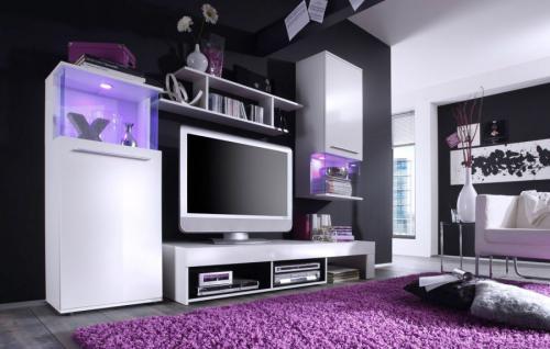 Wohnwand Schrankwand Punch weiß schwarz Glanz mit LED-Beleuchtung Anbauwand Fernsehschrank TV-Unterteil Vitrine