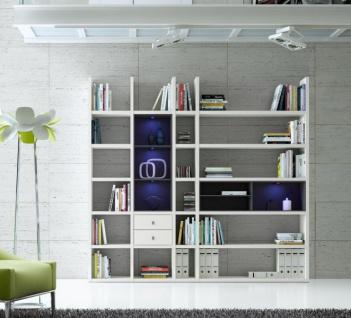 Wohnwand Bücherwand MDor Dekor Lack weiß schwarz Natur LED-Beleuchtung Breite 238 cm