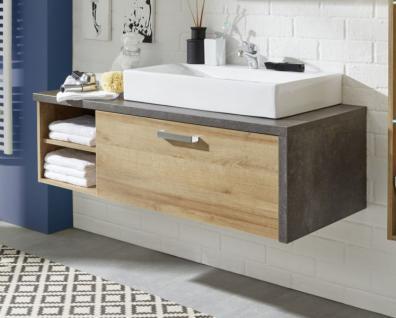 Waschbeckenunterschrank Bay Eiche Riviera Honig und grau Beton Design mit Schubkasten 123 cm - Vorschau 2