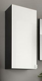 """Badezimmer: Hängeschrank """" Beach"""" Hochglanz weiß, grau (35 x 83 cm) mit Spiegel innen"""