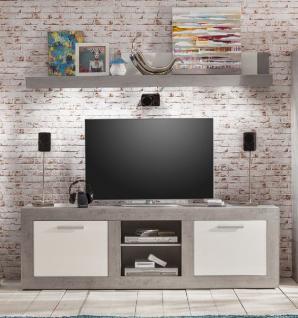 TV-Lowboard TV-Unterteil mit Wandboard 2 tlg. Pure Hochglanz weiß mit grau / Industrie Beton
