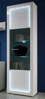 Vitrinenschrank Hochschrank Starlight weiß Hochglanz mit Rillenoptik inklusive LED-Beleuchtung
