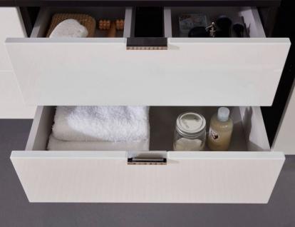Waschtisch Concept1 in Hochglanz weiß und Graphit grau komplett Set 2-teilig Waschbeckenunterschrank mit Waschbecken - Vorschau 4