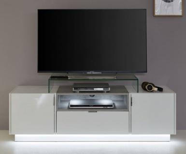 TV-Unterteil Lowboard Atlanta in Hochglanz weiß und Stone grau 160 x 48 cm