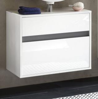 Waschbeckenunterschrank Hängeschrank Lack Hochglanz weiß und grau SOL 67x52 cm