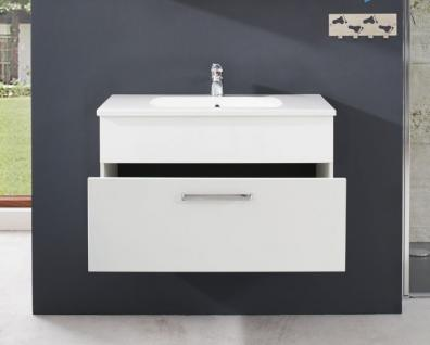Badezimmer Unterschrank inkl. Waschbecken Adamo weiss Hochglanz ...