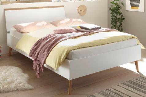 """Bett """" Helge"""" in weiß und Eiche Riviera Einzelbett skandinavisch Liegefläche 140 x 200 cm"""