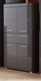 Badezimmer Midischrank Amanda in Hochglanz grau Badschrank 73 x 132 cm Badmöbel Mehrzweckschrank