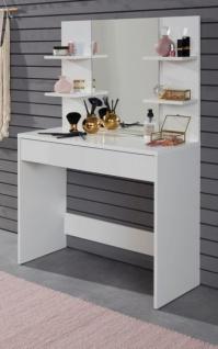 big sale bd007 7edc9 Schminktisch Basix in weiß mit Schubkasten und Spiegel Schminkkommode 85 x  140 cm Kommode