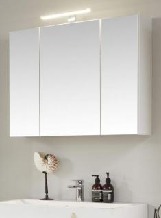 Badezimmer Spiegelschrank One in Hochglanz weiß Lack 3-türig 84 x 68 cm Badmöbel