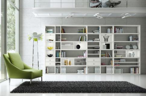 Wohnwand Bücherwand MDor Dekor Lack weiß matt LED-Beleuchtung Breite 420 cm