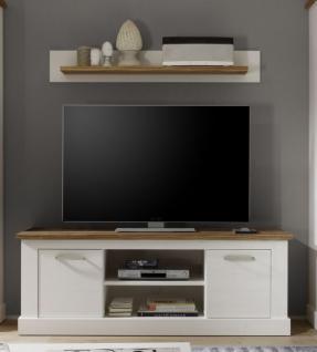 TV-Unterteil + Wandboard Wohnkombination Toronto Anderson Pinie weiß mit Nussbaum Satin